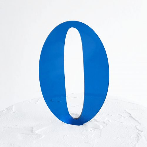 Number 0 Cake Topper Blue