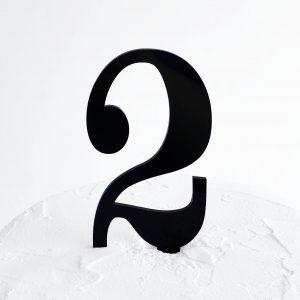Number 2 Cake Topper Black