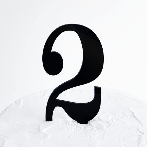 Number 2 Cake Topper Black