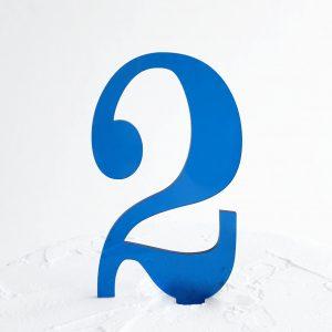 Number 2 Cake Topper Blue