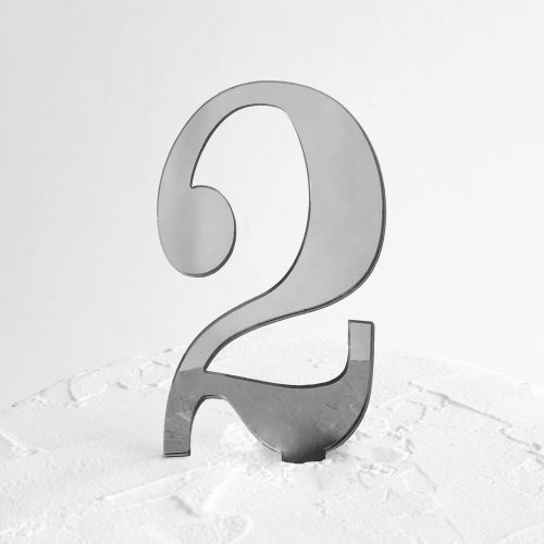 Number 2 Cake Topper Silver