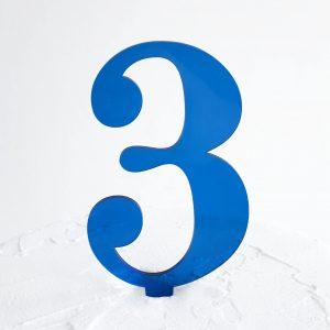 Number 3 Cake Topper Blue