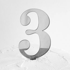 Number 3 Cake Topper Silver