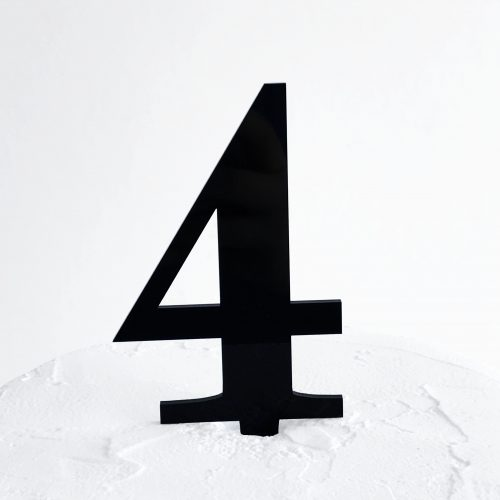 Number 4 Cake Topper Black