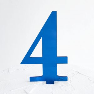 Number 4 Cake Topper Blue