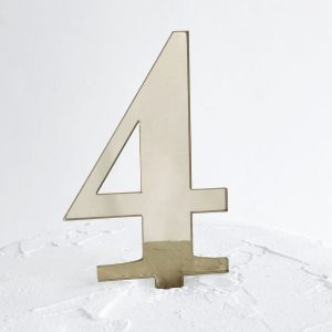 Number 4 Cake Topper Gold