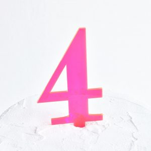 Number 4 Cake Topper Neon Pink