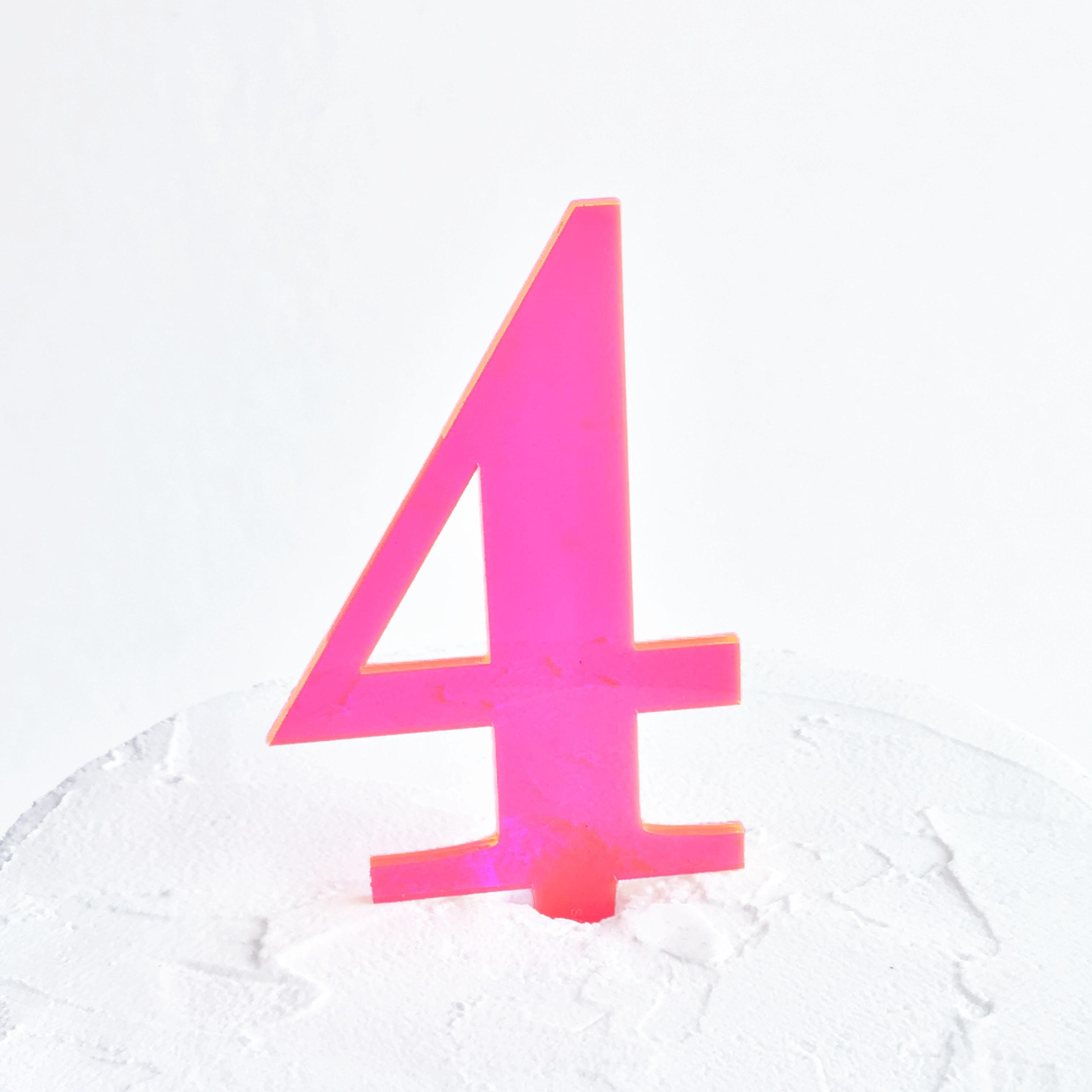 Number 4 Cake Topper