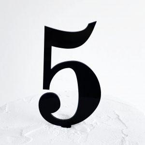 Number 5 Cake Topper Black