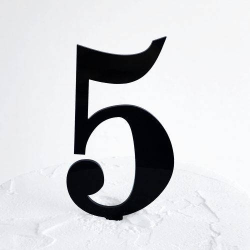 Number 5 Cake Topper Black