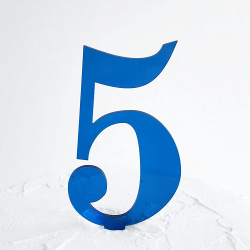 Number 5 Cake Topper Blue