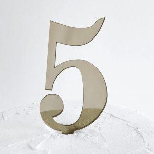 Number 5 Cake Topper Gold