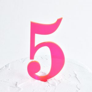 Number 5 Cake Topper Neon Pink