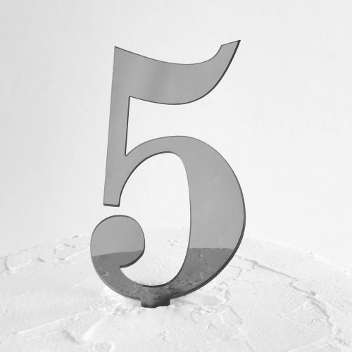 Number 5 Cake Topper Silver