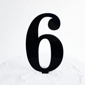 Number 6 Cake Topper Black