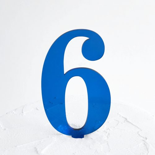 Number 6 Cake Topper Blue