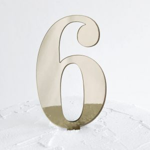 Number 6 Cake Topper Gold