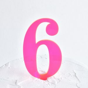 Number 6 Cake Topper Neon Pink