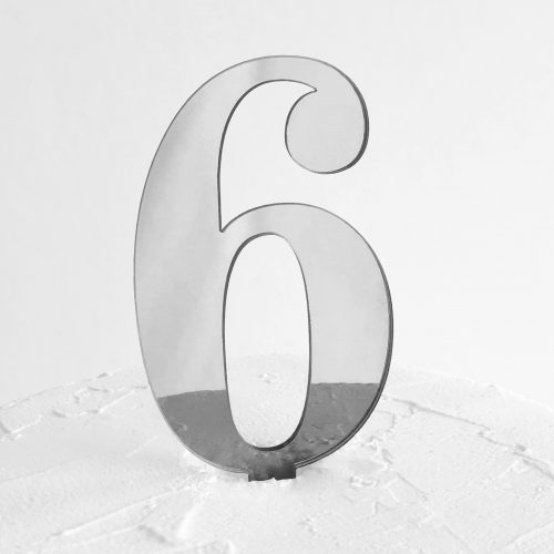 Number 6 Cake Topper Silver