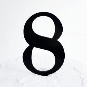 Number 8 Cake Topper Black