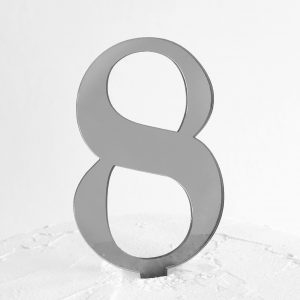 Number 8 Cake Topper Silver