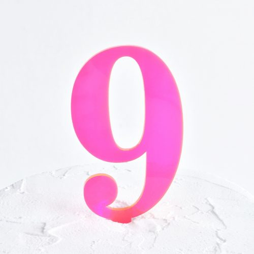 Number 9 Cake Topper Neon Pink
