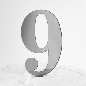 Number 9 Cake Topper Silver