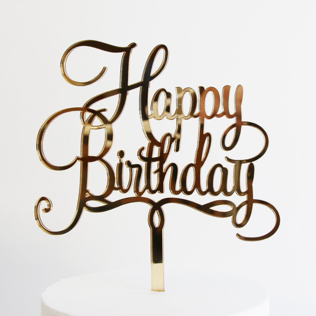 Happy Birthday Cake Topper in Gold