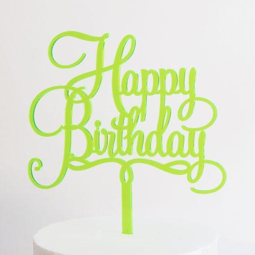 Happy Birthday Cake Topper in Neon Green