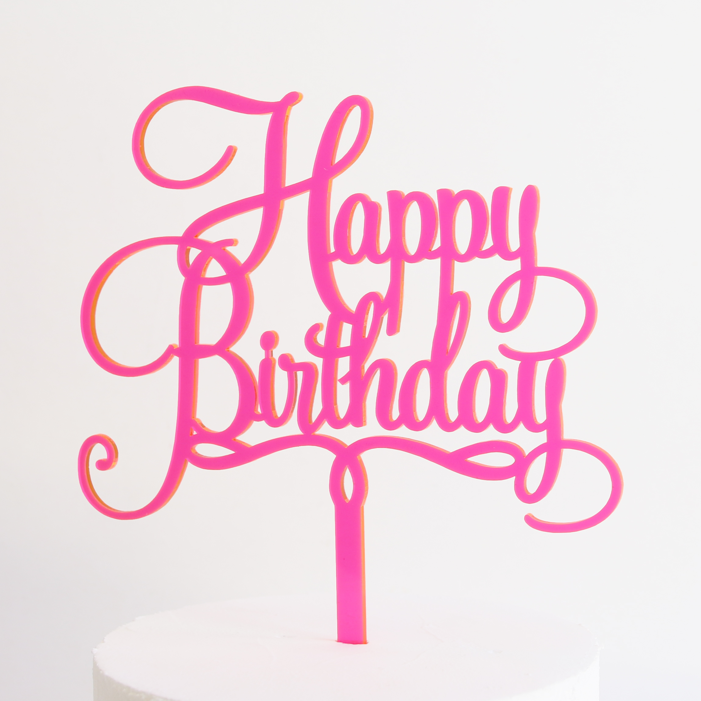 Happy Birthday Cake Topper In Neon Pink