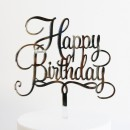 Happy Birthday Cake Topper in Silver Mirror