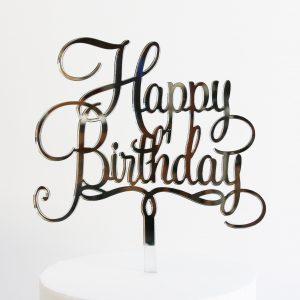 Happy Birthday Cake Topper in Silver Mirror
