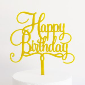 Happy Birthday Cake Topper in Yellow