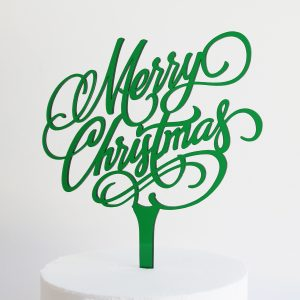 Merry Christmas Cake Topper in Bottle Green