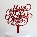 Merry Christmas Cake Topper in Deep Red