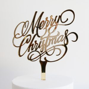 Merry Christmas Cake Topper in Gold