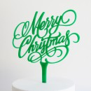 Merry Christmas Cake Topper in Green