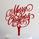 Merry Christmas Cake Topper in Red