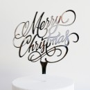 Merry Christmas Cake Topper in Silver