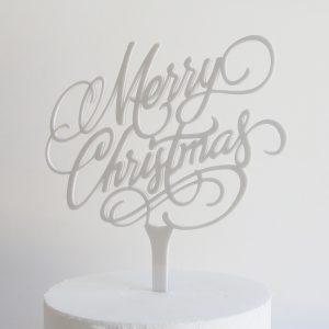 Merry Christmas Cake Topper in White