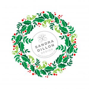 Sandra Dillon Design Christmas Wreath Multi-colour Stencil
