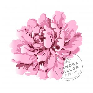 Sandra Dillon Design Vintage Peony Multi Colour Stencil