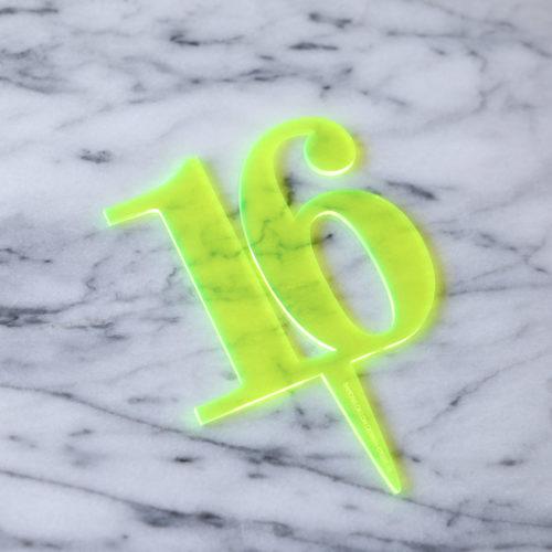 Classic 16 Cake Topper Neon Green