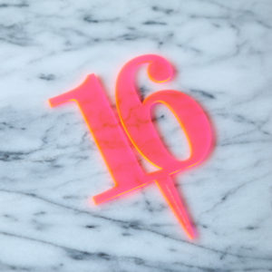 Classic 16 Cake Topper Neon Pink