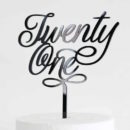 Elegant Twenty One Cake Topper Black
