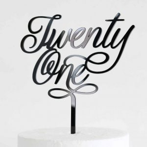 Elegant Twenty One Cake Topper Black