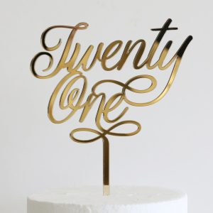 Elegant Twenty One Cake Topper Gold