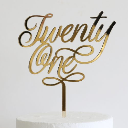 Elegant Twenty One Cake Topper Gold