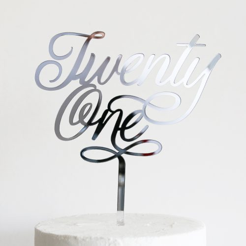 Elegant Twenty One Cake Topper Silver