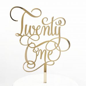 Fun Twenty One Cake Topper in Gold Mirror